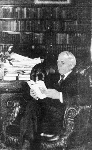 """<span class=""""credit"""">Torch Archive Photo: May 18, 1932 Issue</span><span class=""""description"""">Reading Up: Woodbridge N. Ferris, founder of Ferris State University, reading in his library. Published in the May 18th, 1932 issue of the Torch</span>"""