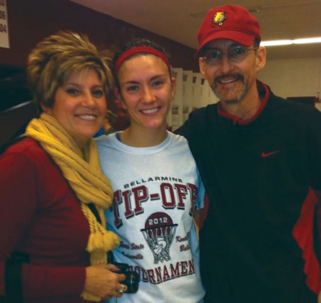 Muntz Family: Ferris State guard Kylie Muntz with her parents. Her father James Muntz lost his battle with cancer over winter break. Courtesy Photo