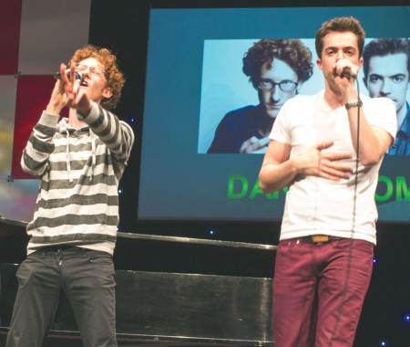 Dakaboom: Paul Peglar (left) and Ben McLain (right), collectively known as Dakaboom, perform in Williams Auditorium. Their musical comedy routine thrilled the audience. Photo By: Eric Trandel | Photographer