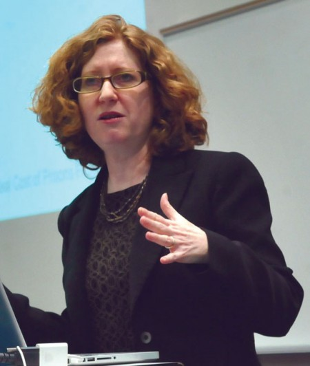Reproductive Justice Advocate: Lynn Paltrow, author and attorney, speaks to an audience in the Business Building about advocating for abortion to be accepted. Photo By: Olivia Odette   Photographer