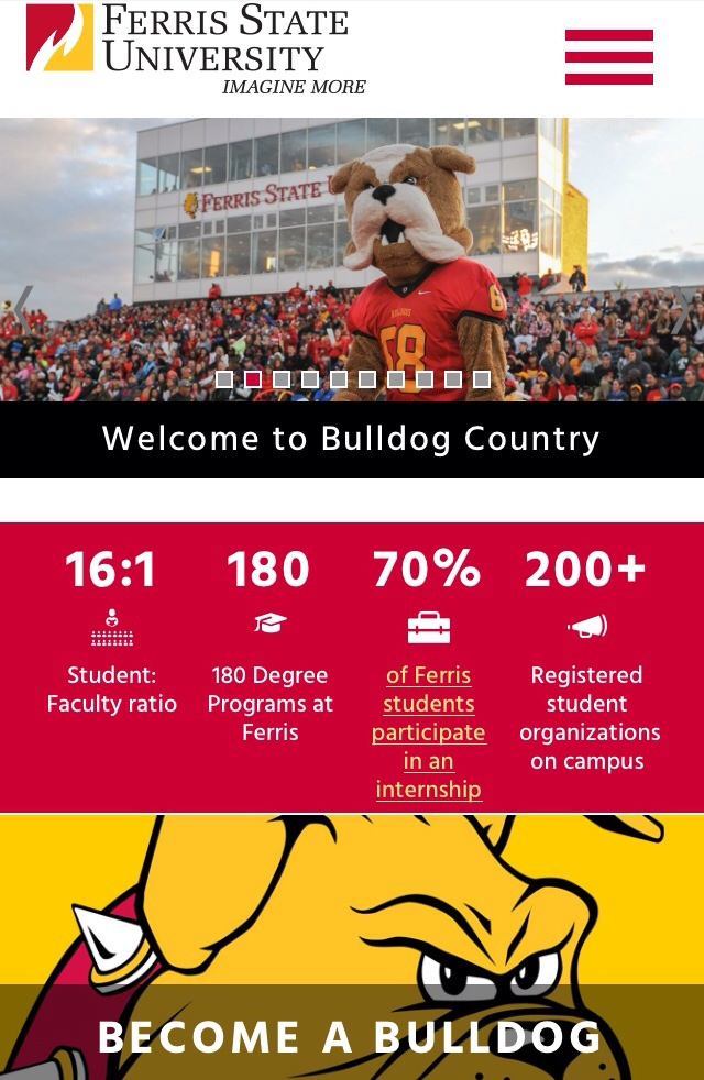 Larger photos, ease of accessibility, and quick facts are among the changes made to Ferris' homepage.