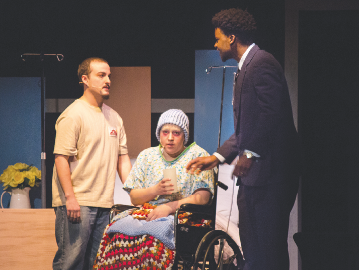 """Ferris students took the stage to perform """"Infinite Black Suitcase,"""" by EM Lewis, a play that portrays death and dealing with grief over the course of one day in a small town in Oregon."""